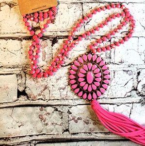 Copper & bright hot pink tassel concho necklace